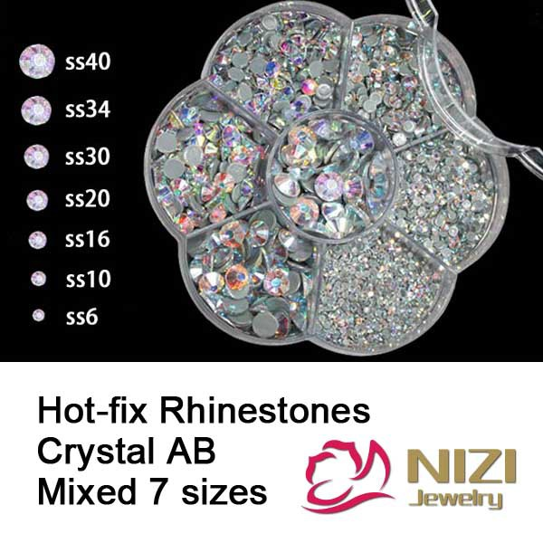 High Quality Hotfix Rhinestones Mixed 7 Sizes Crystal AB Iron on Strass Flatback Round Glass Rhinestones New Hotfix Rhinestones pegasi high quality 5pcs 50 sizes hss