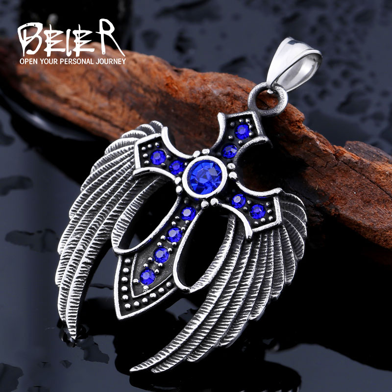 beier punk Stainless Steel Winged Cross 3 colour Stone Feather Pendant Necklace For Man women VintageLeft Jewelry  BP8-073beier punk Stainless Steel Winged Cross 3 colour Stone Feather Pendant Necklace For Man women VintageLeft Jewelry  BP8-073