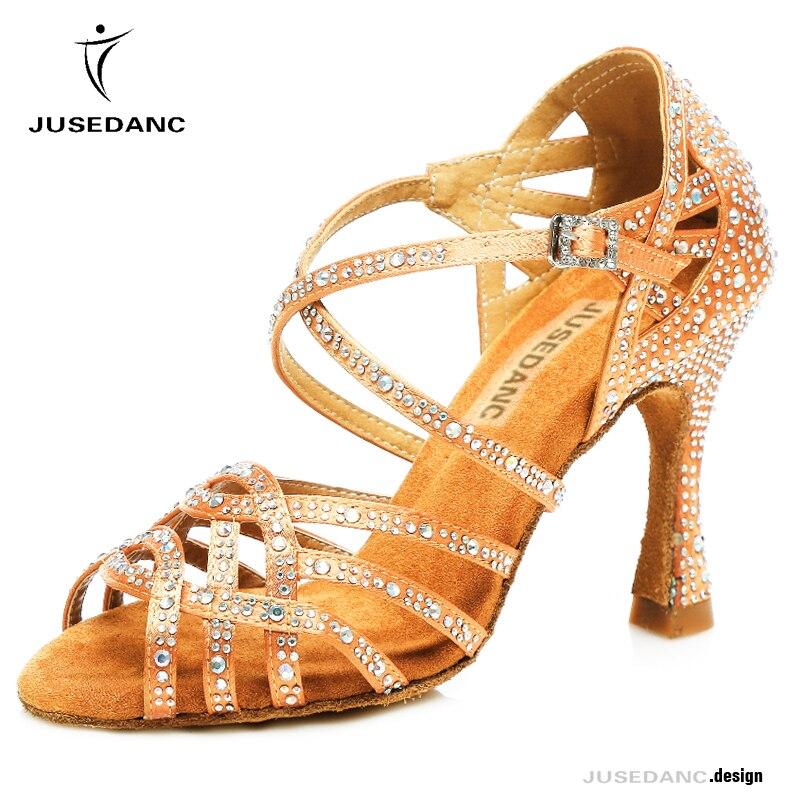 Обувь для танго, танцев, стразы, обувь для латинских танцев для женщин, женская комфортная обувь для сальсы, латинские каблуки, Бальные бронзовые танцевальные туфли JuseDanc