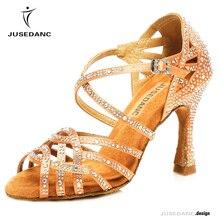 Танцевальная обувь для танго; женские туфли для латинских танцев со стразами; удобная женская обувь для сальсы; Бальные бронзовые туфли для танцев; JuseDanc