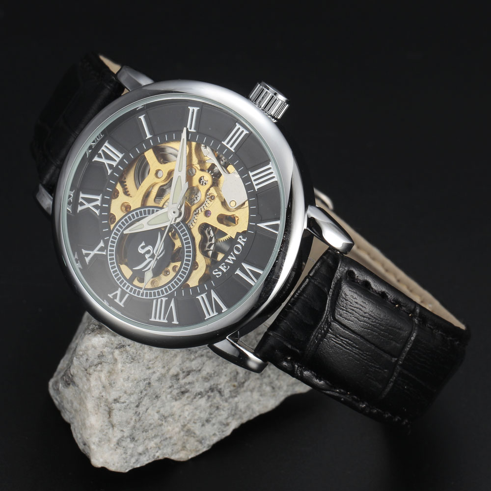 SEWOR 3d лого дизайн куха гравиране черен - Мъжки часовници - Снимка 6