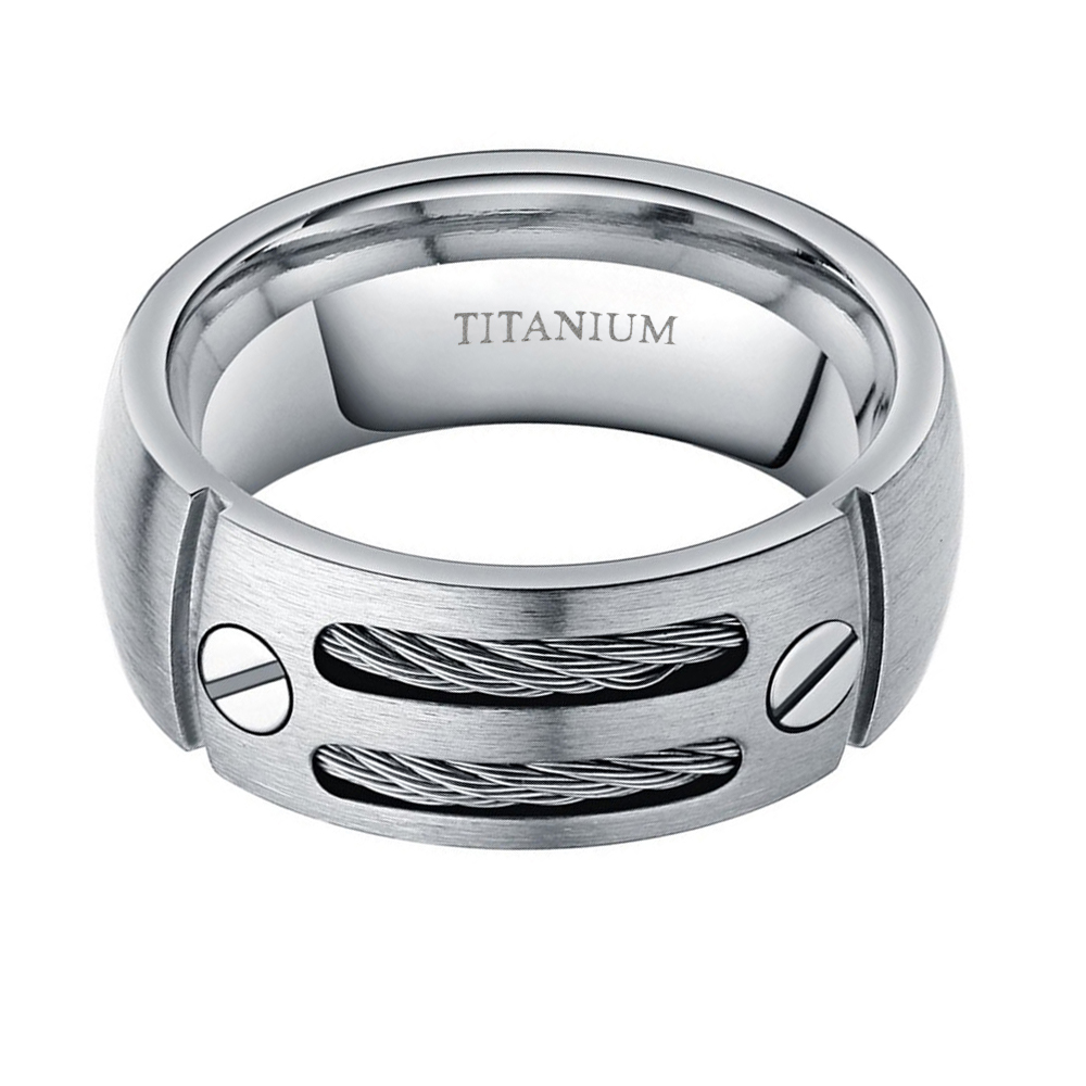 8mm gümüş renk titanium yüzük erkekler paslanmaz çelik kablolar - Kostüm mücevherat - Fotoğraf 2