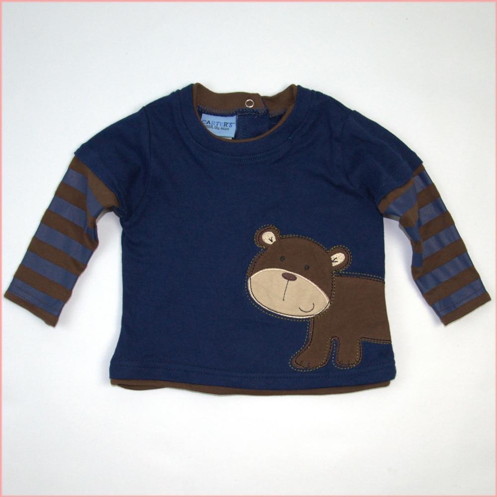 Baby Boy T Shirt Dark Blue Coffee Striped Long Sleeves