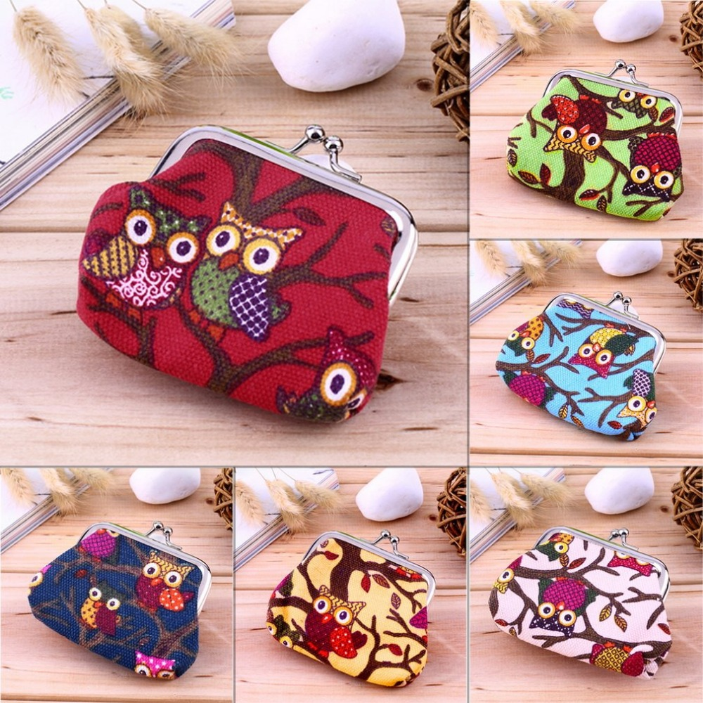 Free Ship Cute Small Canvas Wallet Coin Purse Multi-color Owl Design Coin Money Bag Purse Wallet For Girl Women Female Teenager