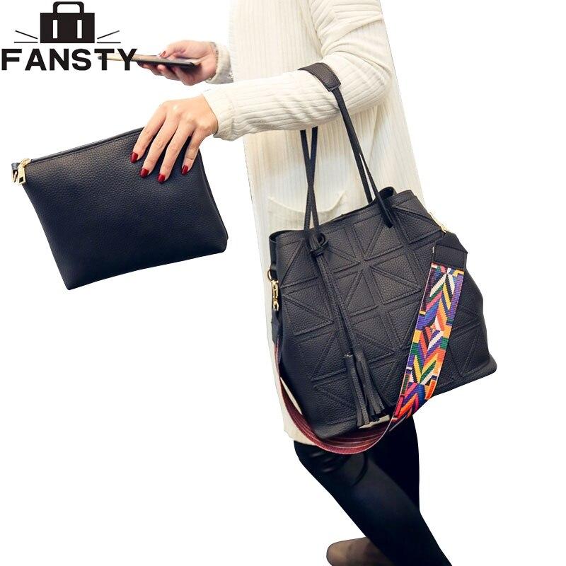 2017 New Women Shoulder Bag Colorful Strap Ladies Handbag European Tassel Composite Bag Plaid PU Leather Large Totes for Female