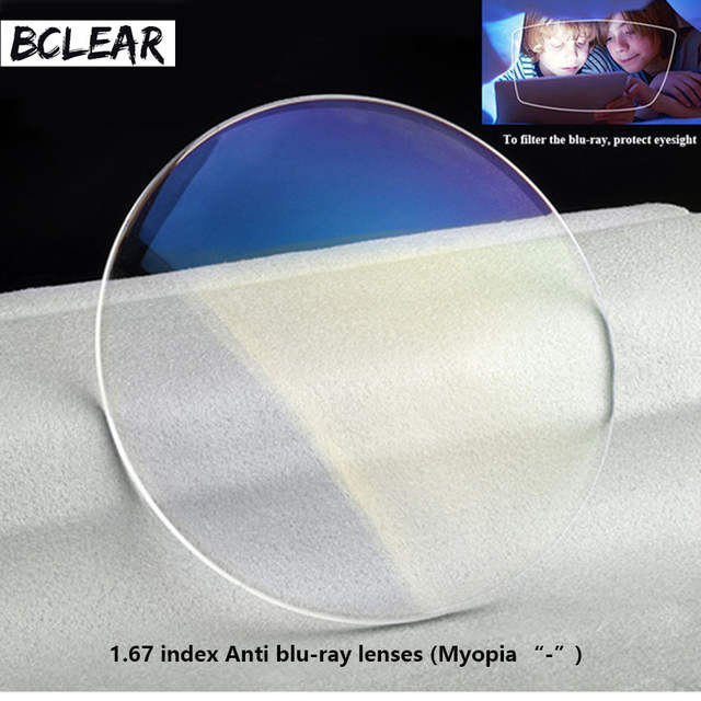 1102b07a5bf BCLEAR 1.67 refractive index anti blue ray lenses single vision lens Myopia  blue light eyes protection