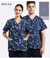 Hospital&Beauty Salon&Pet Hospital Doctor Gowns Wash Clothes Surgical Clothing Isolation Print Nurse Medical Uniform,J69