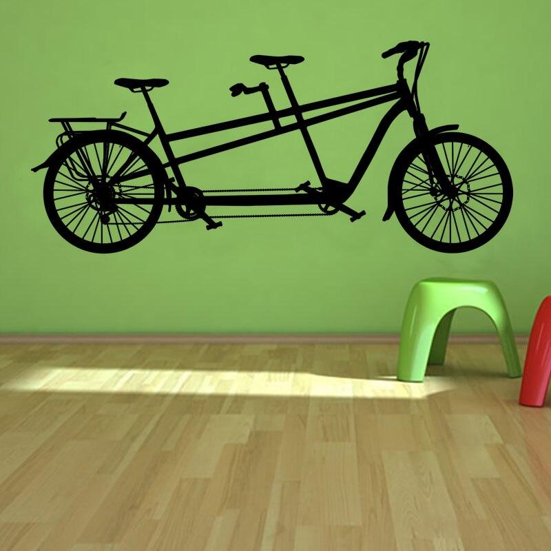 Dctop New Design Creative Home Decor Vinyl Wall Art Decal Transportation Tandem Bike Wall Stickers Kids