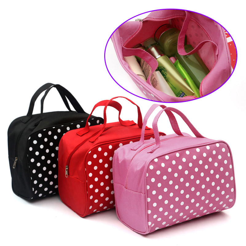 Hot Beautician Fashion Dot Cosmetic Bag Female Organizer Bags Travel Storage Storing Bag Makeup Case Trousse Maquillage Femme