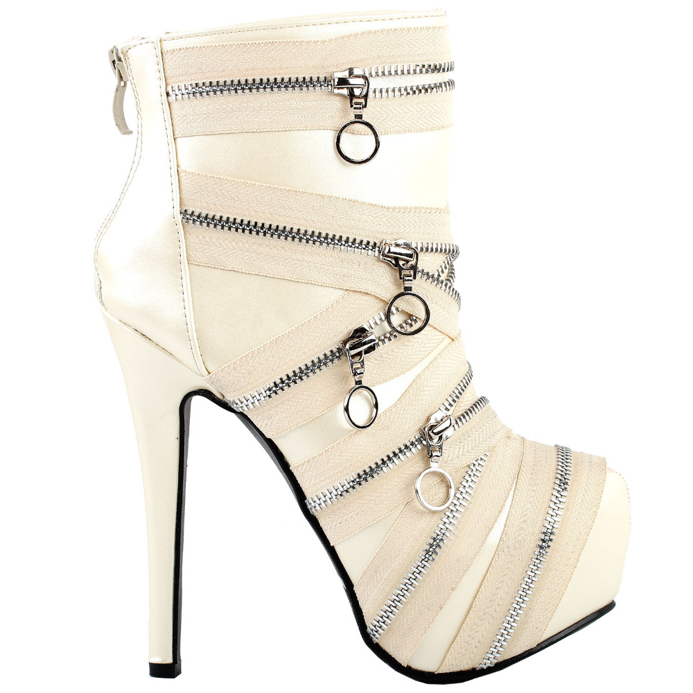 LF80845 Punk Zip Gothic Platform Stiletto Ankle Boots Black/Beige Size 4/5/6/7/8/9/10 mld lf 1127 ankle supports