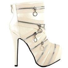 LF80845 Punk Zip Gothic Platform Stiletto Ankle Boots Black/Beige Size 4/5/6/7/8/9/10