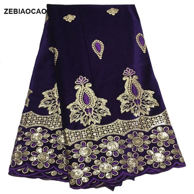 ZEBIAOCAO אפריקאי תחרת בד 2019 באיכות גבוהה קטיפה צרפתית נטו רקום ניגרי תחרה עם פאייטים פלנל תחרה עבור שמלה