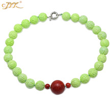 JYX Bohimia style Turquoise Necklace 16-16.5mm Green Round Beads dotted Red 9-25mm Coral Pendant 21 beautiful figure
