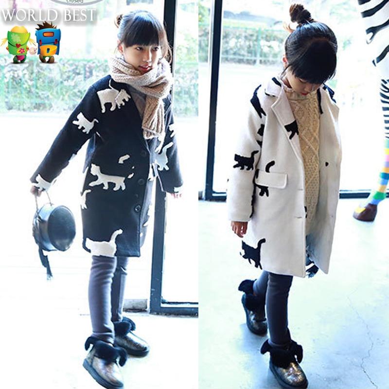 Children s Winter Jackets 2016 Girls Wool Winter Coats Child Cotton Padded Thickening Medium Long Outerwear