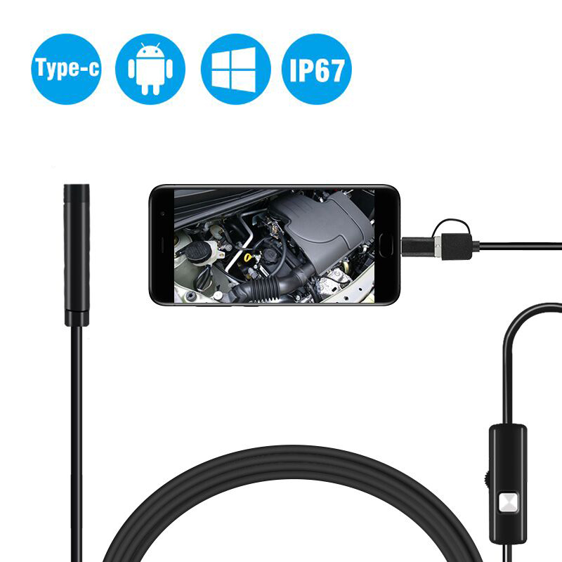 3in1 8mm 6Led Type C Waterproof 720P Endoscope Camera Inspection 1m 2m 3.5m 5m USB Cable Endoscope Borescope Android Endoscope3in1 8mm 6Led Type C Waterproof 720P Endoscope Camera Inspection 1m 2m 3.5m 5m USB Cable Endoscope Borescope Android Endoscope