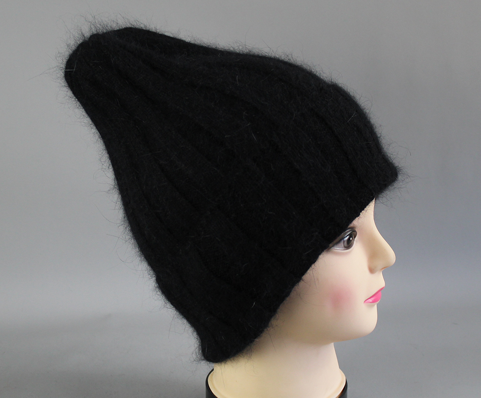 Thick Winter Hats For Women angora Beanies Hat knitted wool warm Beanie With Back Opening 2018 New (15)