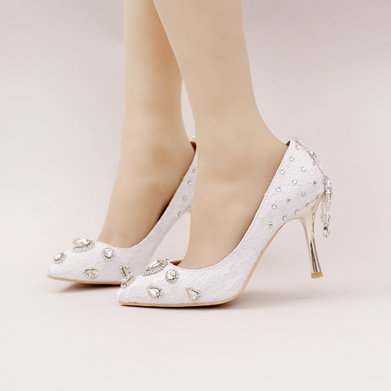 ФОТО 2016 New Style White Lace Bridal Shoes Rhinestone High Heel Wedding Party Shoes Pointed Toe Formal Dress Shoes Women Pumps