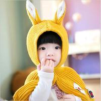 Adorable Baby Boy Girls Knited Cape Children Bunny Ear Shape Cloak Toddler Kids Outwear Winter 0