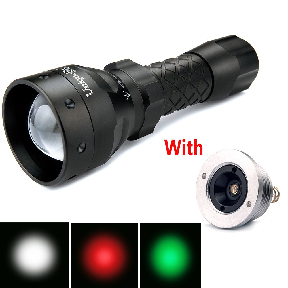 Hot Selling UF-1407-XRE Defense Flashlight Torch 3 Mode Red/Green/White Light For Outdoor Lamp+Drop-in 1407-850nm Led Pill new uniquefire uf 1407 xre black zoomable led flashlight green red white light 5 mode 38mm lens portable camping lamp