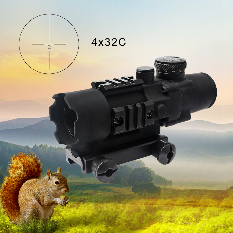 New 4x32C Three-Sided Rail Prism Fiber Optic Front View Mirror Riflescopes and Fully Adjustable Rear View Mirror with 20mm RailNew 4x32C Three-Sided Rail Prism Fiber Optic Front View Mirror Riflescopes and Fully Adjustable Rear View Mirror with 20mm Rail