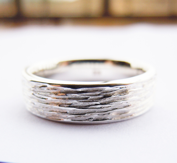 Engravable 5mm Tree Skin Band Ring in Sterling Silver Handmade All Sizes