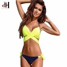 Здесь можно купить  DA HAI Brand Bikini 2017 New Explosion Section Split Cross Hard Bag Bikini Candy Color Tight Size Big Swimsuit Sexy Women Swimsu