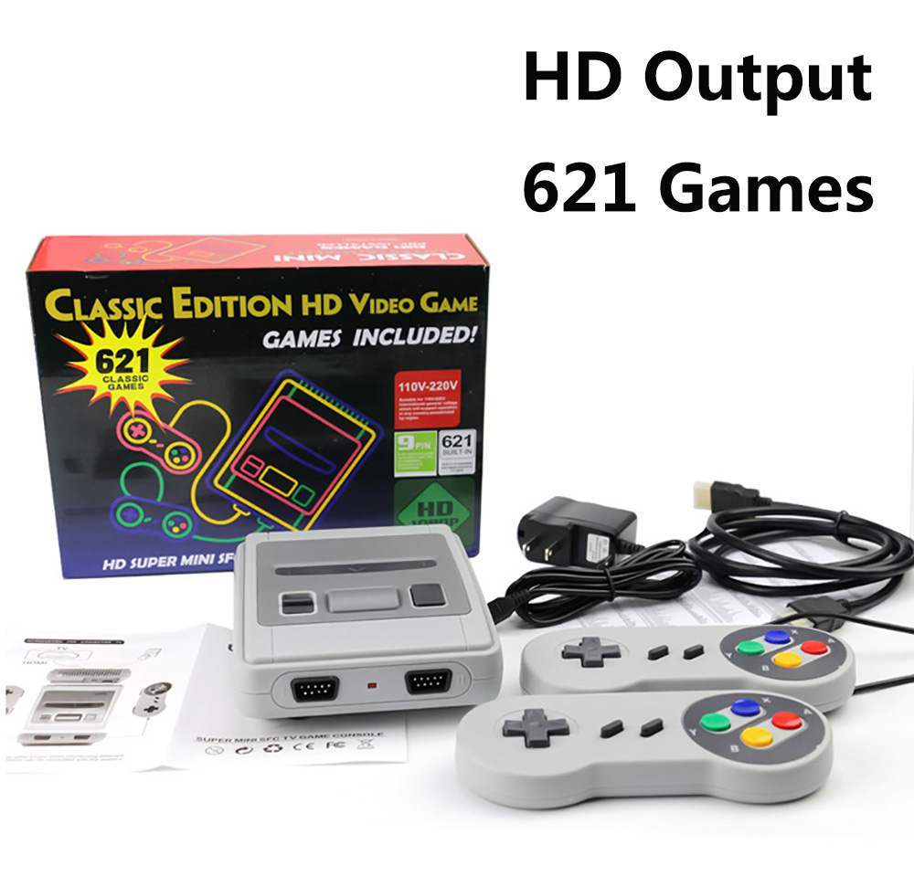 Mini HDMI TV 8 Bit SNES Video Game Console Retro Classic HDMI HD Output TV Handheld Game Player Built in 621 Retro Games-in Video Game Consoles from Consumer Electronics