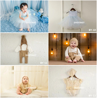 Dvotinst Baby Girls Boys Photography Props Cute Lace Knit Outfits Dresses Clothes Hat Set Fotografia Studio Photo Props 6 12M