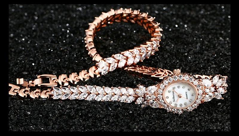 16 50M Waterproof Selberan Gold/Silver Natural Zircon Wrist Watch for Women Luxury Ladies Bracelet Watch Montre Femme Strass 15