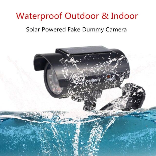 Fake Camera Solar Power Outdoor Simulation Dummy Camera Waterproof Security CCTV Surveillance Bullet With Flashing LED Light 2