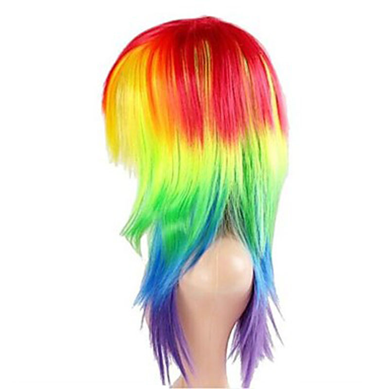 HAIRJOY  Synthetic Hair Women's Cosplay My Little Pony Rainbow Dash Multi Color Heat Resistant Party Wig Free Shipping 2