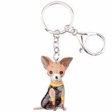 Psychedelic Patchwork Sitting Chihuahua Keychain (6 Colors)