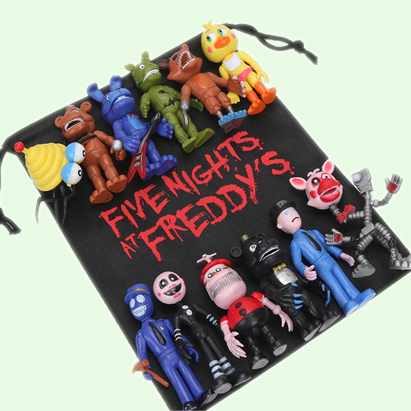 12Pcs/lot Five Nights At Freddy's toys FNAF Chica Bonnie Foxy Freddy Fazbear Bear Doll PVC Action Figures gift bag brinquedos wholesale five nights at freddy s 4 fnaf freddy fazbear bear foxy plush toys doll kids birthday gift