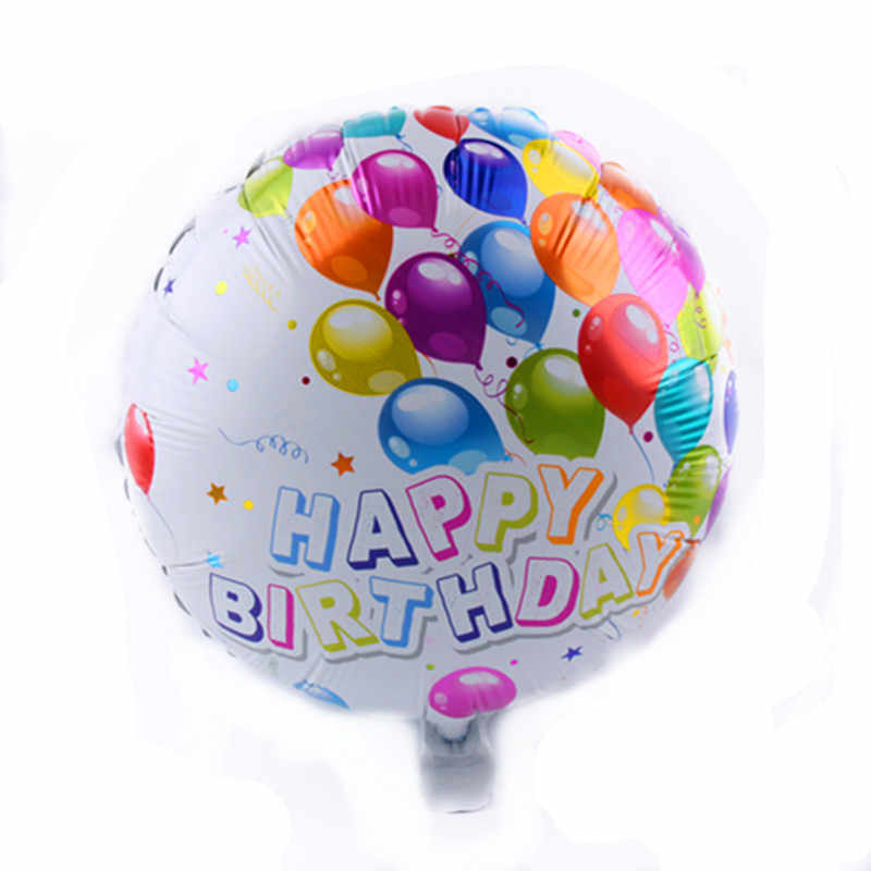 XXPWJ Free Shipping New Happy birthday round aluminum balloons birthday party decoration foil balloon wholesale A-026