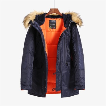 N 3B winter coat men fur hood slim fit thick parka padded military jacket for
