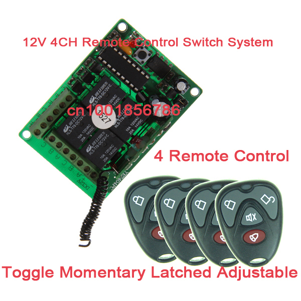 12V 4CH RF Wireless Remote Control Switch System Receiver &4 Transmitter 200M Learning Code 4 Relay Receiver System