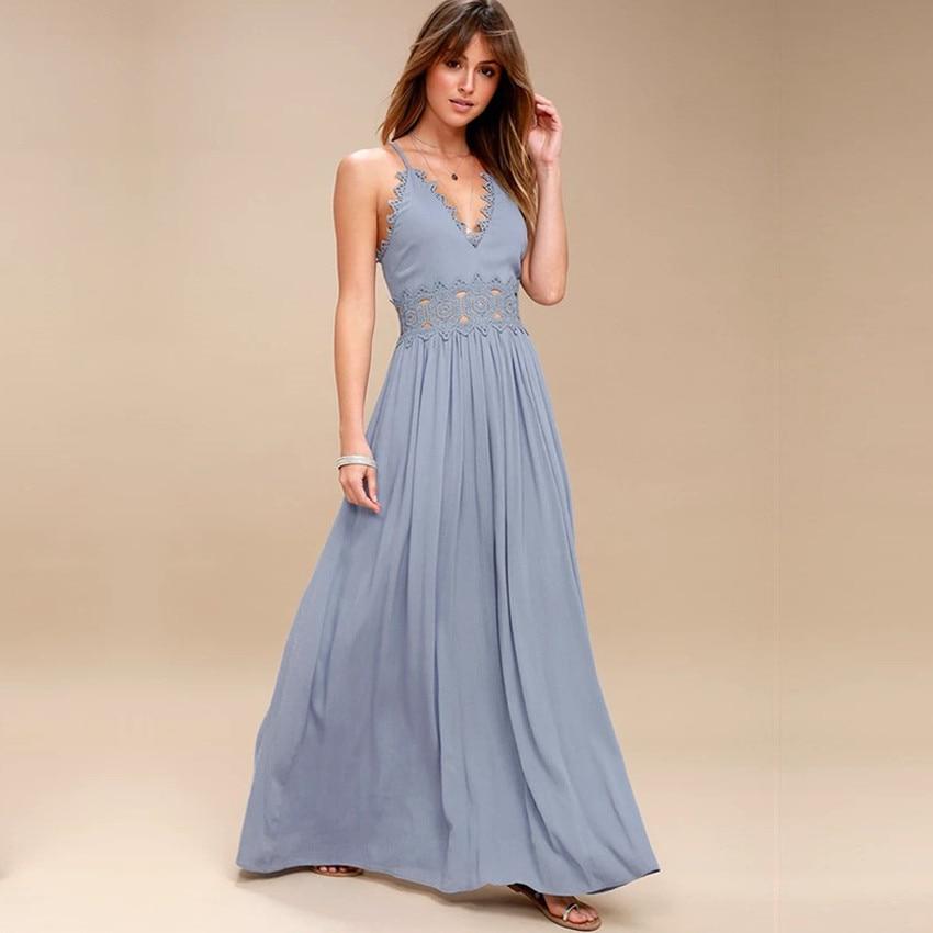Elegant backless Strap long dress Women Hollow Out evening summer beach dress Party sexy Blue maxi dresses vestidos sundress