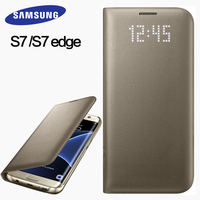 Samsung S7 S7 Edge Case Cover 100 Original Leather Case LED Intelligent Sleep Protective Cover Mobile