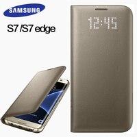Samsung S7 S7 Edge чехол 100% оригинальный кожаный чехол LED Интеллектуальный Sleep Защитная крышка мобильного для S7 S7 Edge флип чехол