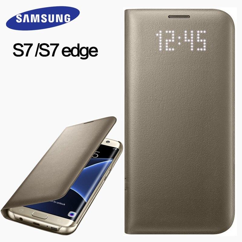 imágenes para Samsung s7 s7 cubierta del caso del borde 100% funda de piel original LED sueño inteligente cubierta protectora móvil para s7 s7 borde del caso del tirón