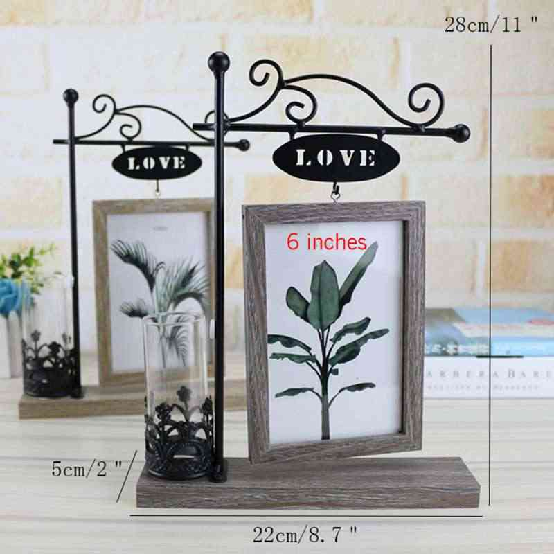 European With Hydroponics 6 Inch Hanging Double-Sided Wood Photo Frame Picture Frame Creative Iron Crafts Gifts Home Decoratio