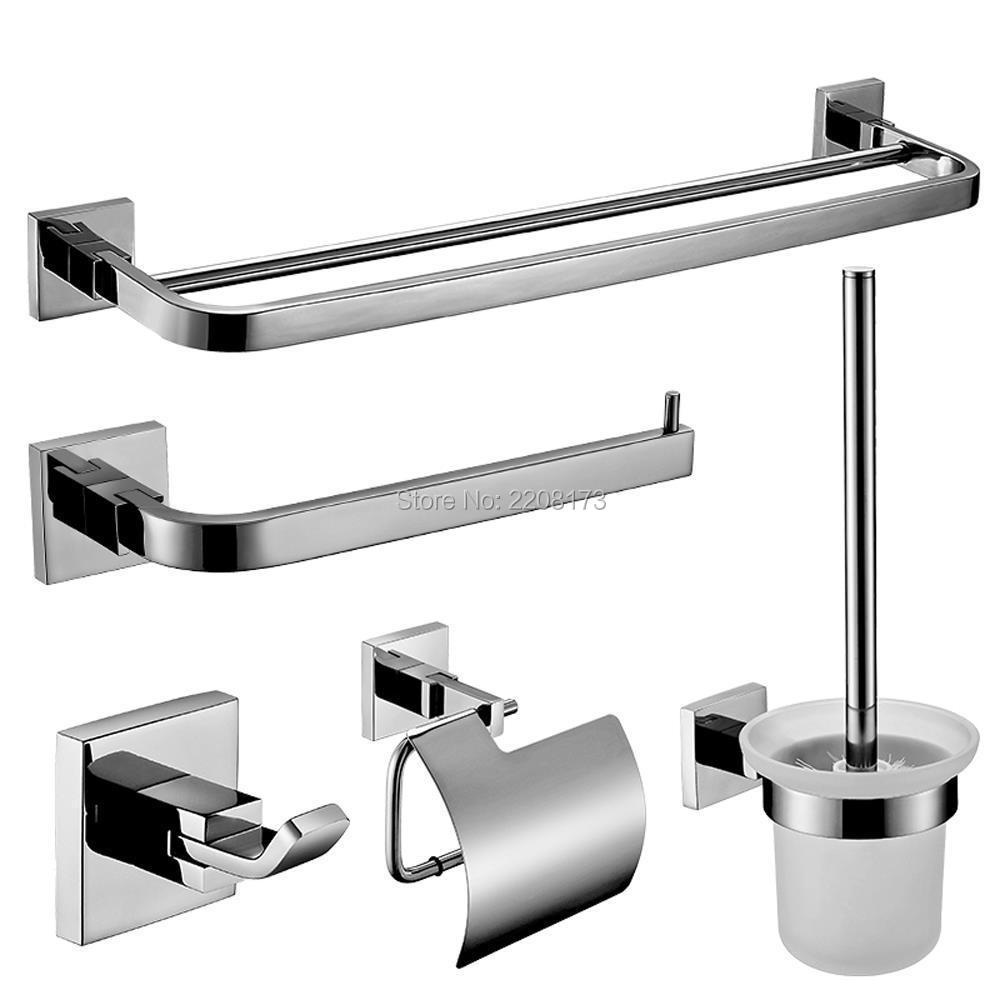 Retainl Promotions Bathroom Accessories SUS304 Stainless Steel Bathroom 5 Piece Set Hardware Accessories Polished  Chrome Finish 5pcs 304 stainless steel capillary tube 3mm od 2mm id 250mm length silver for hardware accessories