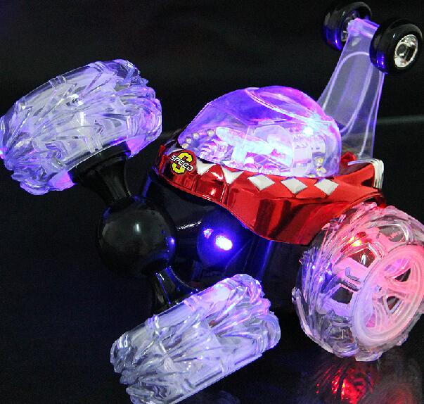 RC Coche de Juguete de Control Remoto Stunt Car con Luz y Música eléctrico de Juguete Bailando Volcado Coche Rodando Dumper Rueda Giratoria Vehículo camión