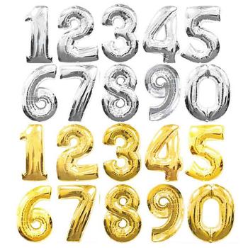 32 cale duże złote srebrna cyfra z balonów foliowych cyfrowy manometr balony urodziny dekoracja na przyjęcie ślubne balony powietrzne Event Party Supplies tanie i dobre opinie Ślub Birthday party CHRISTMAS Ślub i Zaręczyny Dzień dziecka Walentynki New Year Rocznica Numer Ballon Folia aluminiowa