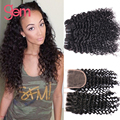 Brazilian Curly Hair With Closure 4pcs lot Kinky Curly Virgin Hair Deep Wave Curly Weave Brazilian Virgin Hair With Closure 1B