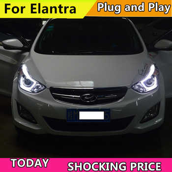 Car Styling Head Lamp For Hyundai Elantra headlights angel eyes 2012-2017 For Elantra head lamp bi xenon lens Hi Low Beam h7 - DISCOUNT ITEM  20 OFF Automobiles & Motorcycles