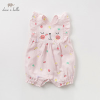 DBZ10734 Dave bella new born baby girls fashion jumpsuits cute fruit cat infant toddler clothes children summer romper 1 piece
