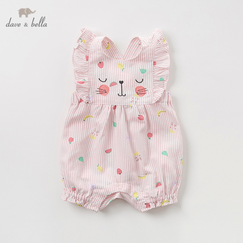 DBZ10734 Dave bella new born baby girls fashion jumpsuits cute fruit cat infant toddler clothes children summer romper 1 piece