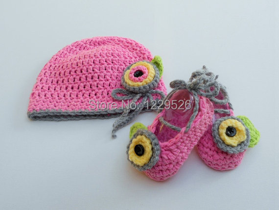 Mezgimo kūdikių rinkinys / nėrimo kūdikių skrybėlę batų - Kūdikių drabužiai - Nuotrauka 1