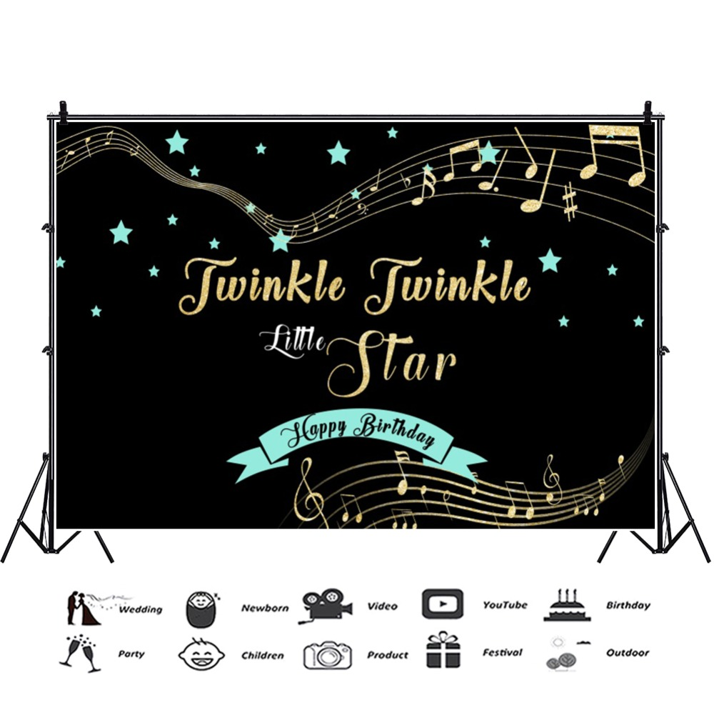 Laeacco Jwinkle Little Star Tabs Note Happy Birthday Dreamy Scene Photographic Background Photography Backdrops For Photo Studio